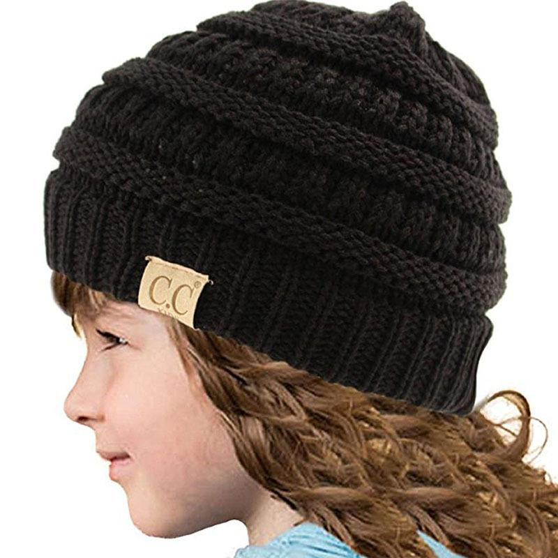 2019 Knitted Winter Hat Children Outdoor Warm Solid Color CC Beanie ... fa27ad09ff4