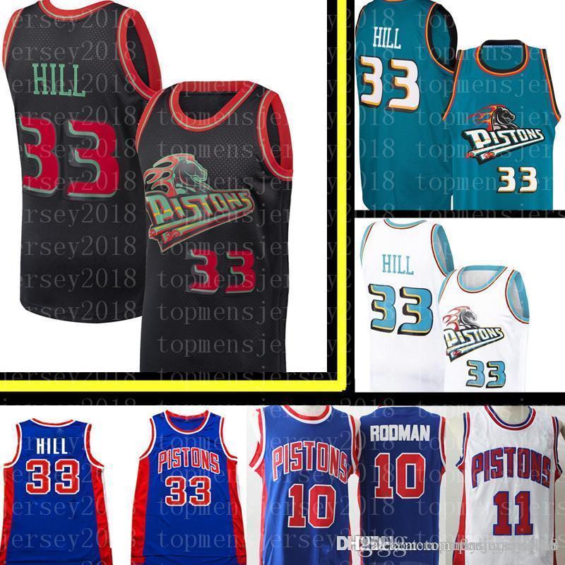 best sneakers b1e29 5add6 Detroit Grant 33 Hill Pistons Jersey Mesh Retro Basketball Jerseys 11 Isiah  # Thomas 10 Dennis # Rodman Jersey S-XXL