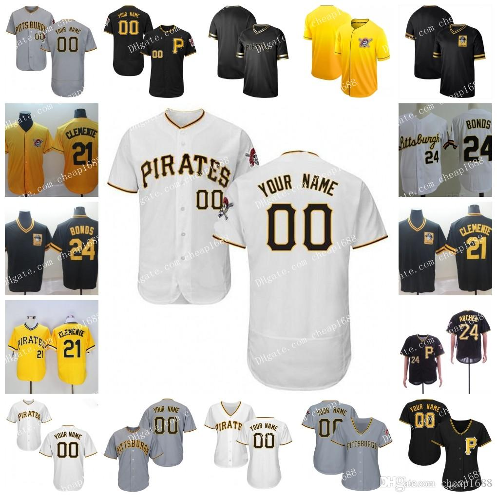 14af98f08c5 2019 Custom 2019 Pirates Jersey Pittsburgh 6 Starling Marte 12 Corey  Dickerson 24 Chris Archer 25 Gregory Polanco 26 Adam Frazier 16 Jung Ho  Kang From ...