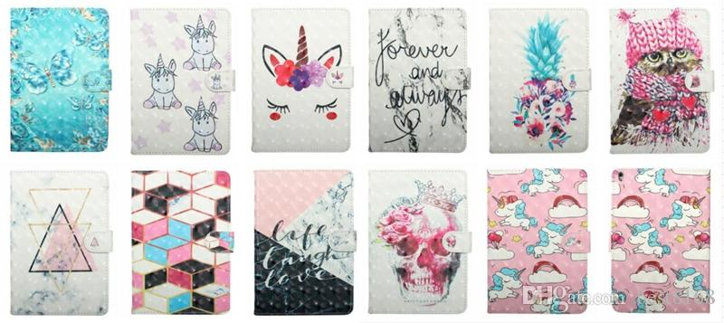 3D Leather Case For Ipad 10.5 9.7 2019 Mini 1 2 3 4 5 ipad 2 3 4 Air Air2 5 6 7 8 9 Wallet Unicorn Flower Owl Skull Flip Cover TPU Butterfly