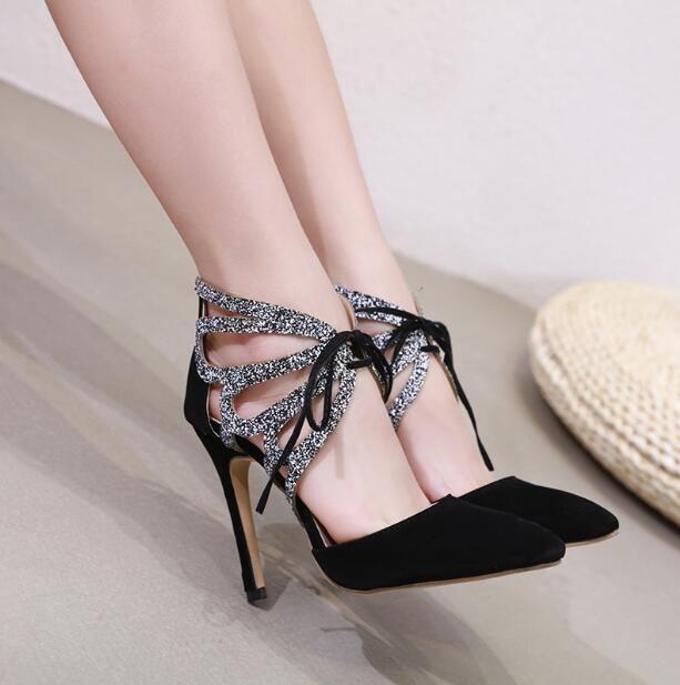 96386b3f Compre Nuevo 2019 Sandalias De Mujer Tacones Altos Sexy Punta Estrecha  Suede Señoras Con Cordones Tacones Mujer Bombea Los Zapatos De Fiesta  Zapatos De ...