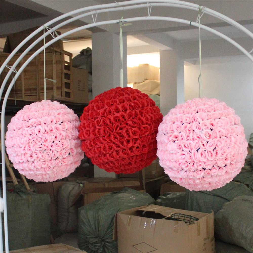 10inch 25cm Encryption Artificial Rose Silk Flower Ball Decoration for Wedding Birthday Party Festival Christmas Ornaments Supplies
