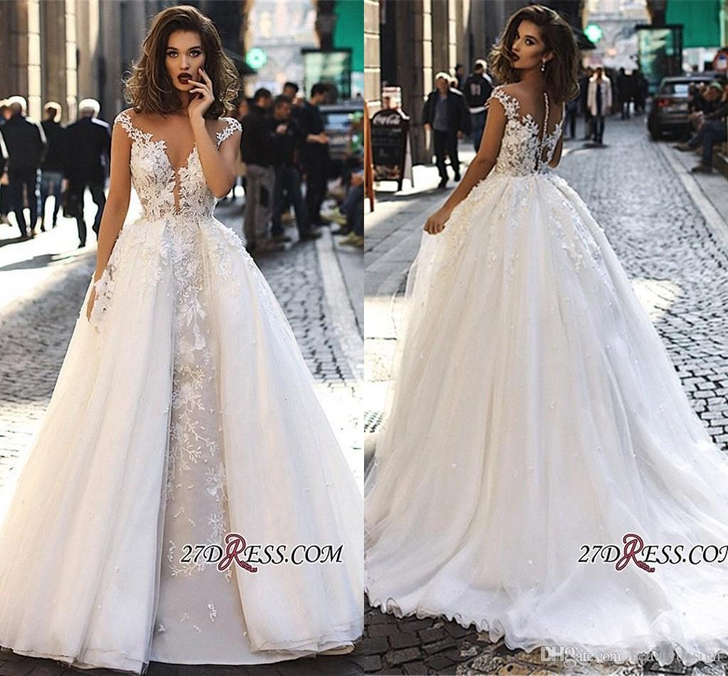 d383c4f73b1 2019 Vintage Cap Sleeves Lace Long Wedding Dresses A Line Tulle Lace ...