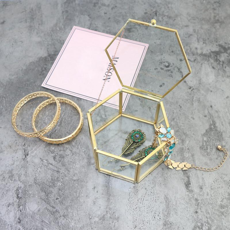 Vintage Geometrical Glass Jewelry Box Retro Earring Ring Flower Plants Display Box Case Wedding Decor Box SH190723