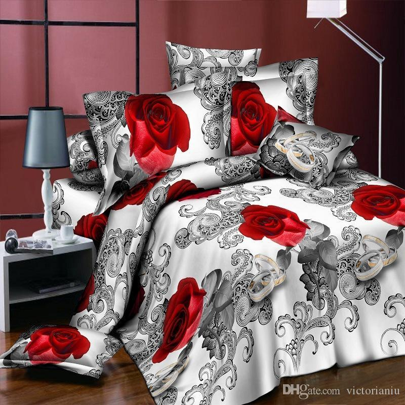 New 4PCS Bedding Set flower 3D rose print luxury Bed linen for Duvet Cover Pillowcase Bedclothes Room Decoration home textile
