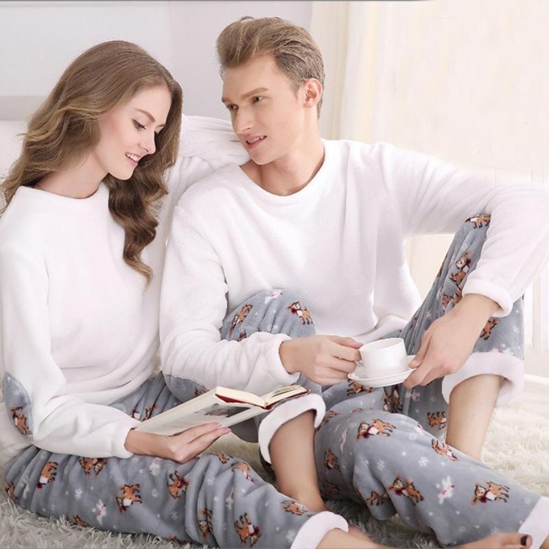 0032b5d8365d 2019 SSH042 Winter Flannel Couples Matching Pajamas Adult Full Sleeve  Pyjamas For Women Men Full Length Pajama Set Warm Sleepwear From Jiushai