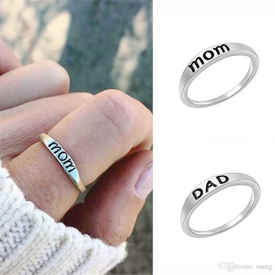 Fashion Vintage Mom Letter Ring Charm Exquisite Elegant Women Girl Jewelry Accessories Christmas Gift For Mom Dad