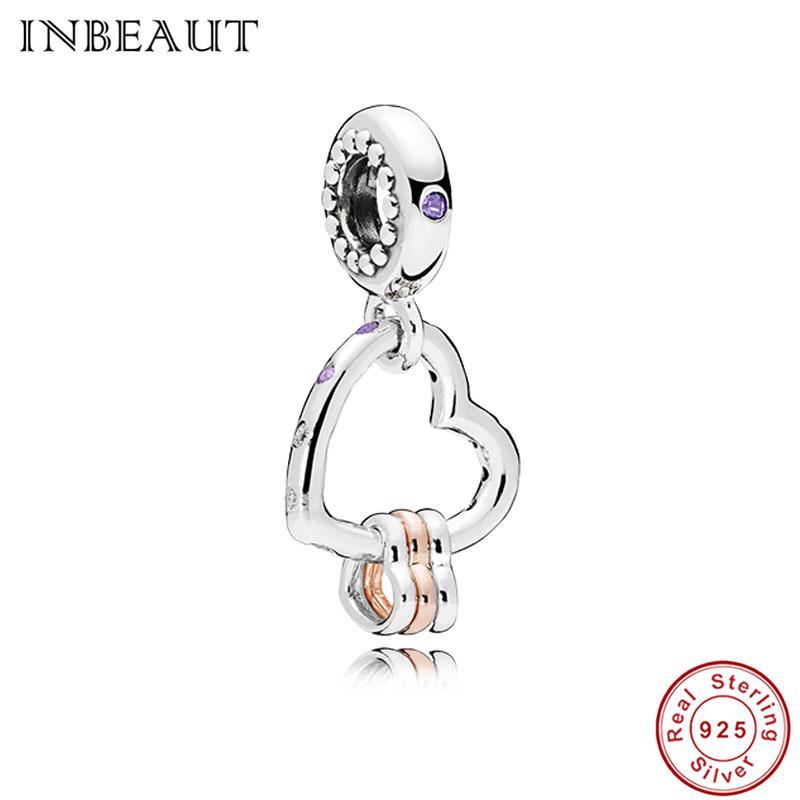 fe6197fbe71 100% Authentic fit Pandora Bracelet Original 925 Sterling Silver Purple CZ  Charm diy Heart in Heart Hoop Beads Pendant Jewelry