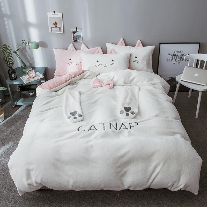 White Grey Cute Kids Girls Bedding Set Queen Twin Full Size Bed Set ...