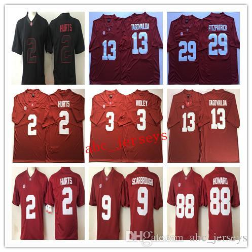 new style 09371 fb6ea NCAA Mens Alabama Crimson Tide #9 Bo Scarbrough 2 HURTS 3 RIDLEY 13  TAGOVAILOA 29 FITZPATRICK 88 Howard College Football Jerseys