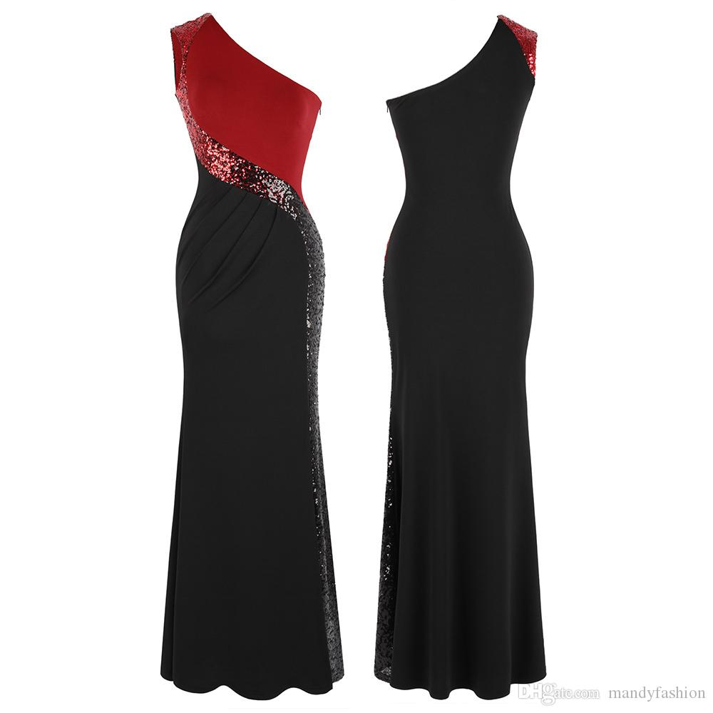 1bbd6e41ee106 Angel-fashions One shoulder Gradient Sequin Evening Dress Pleated Splicing  Long Mermaid Formal Party Gown Black Red 446