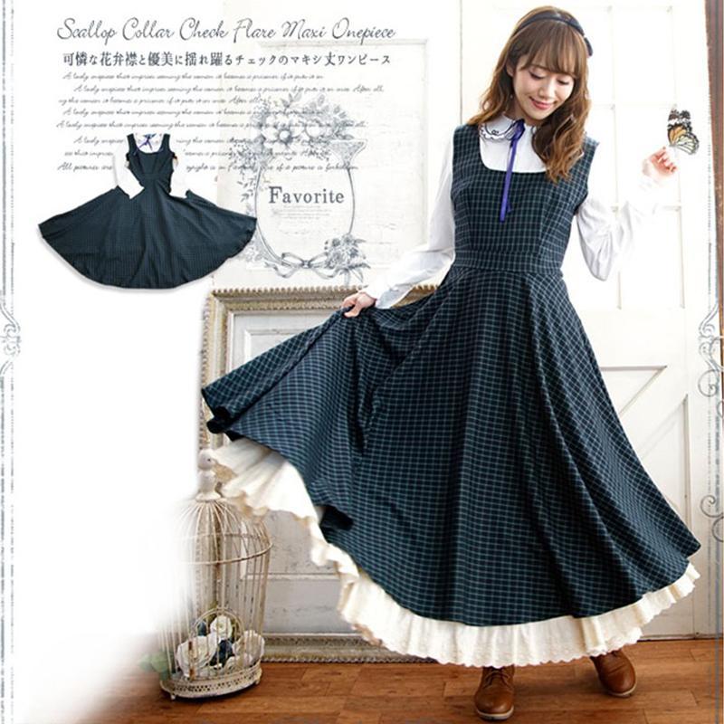 da44c849b05 Mori Girl Lolita Plaid Dress Women Sweet Bow Peter Pan Collar One Piece  Dress Japanese Long Sleeve Retro Ladies Dresses T660 Womens Evening Dresses  Junior ...