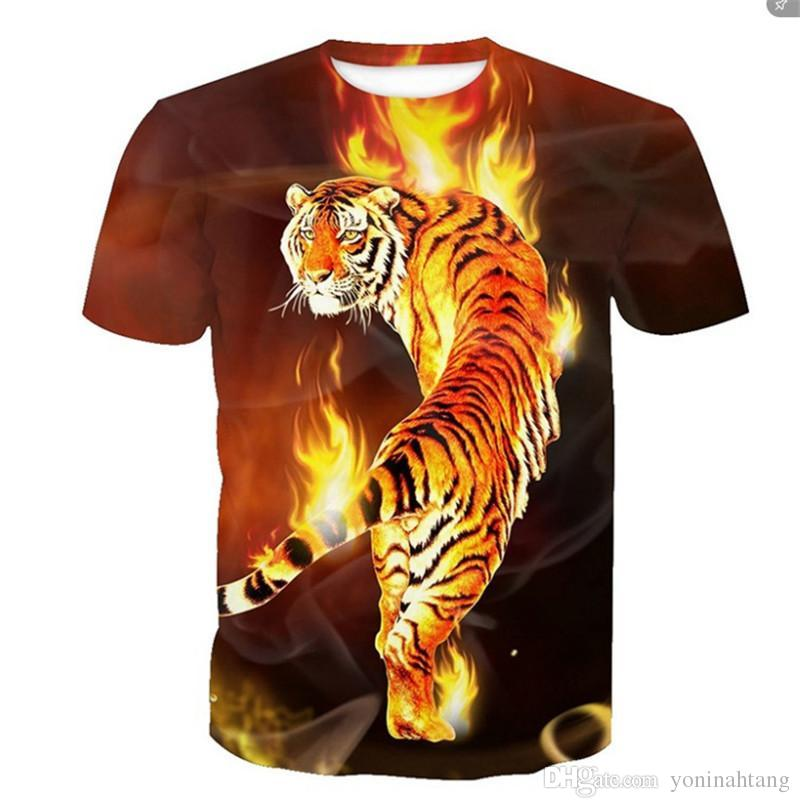 e8f94438 Tiger T Shirt Clothing Animal T Shirt 3d Digital Print T Shirt Men Clothes  Oversized Top Tee Hip Hop Fashion Summer Clever T Shirts Best Tee Shirts  From ...