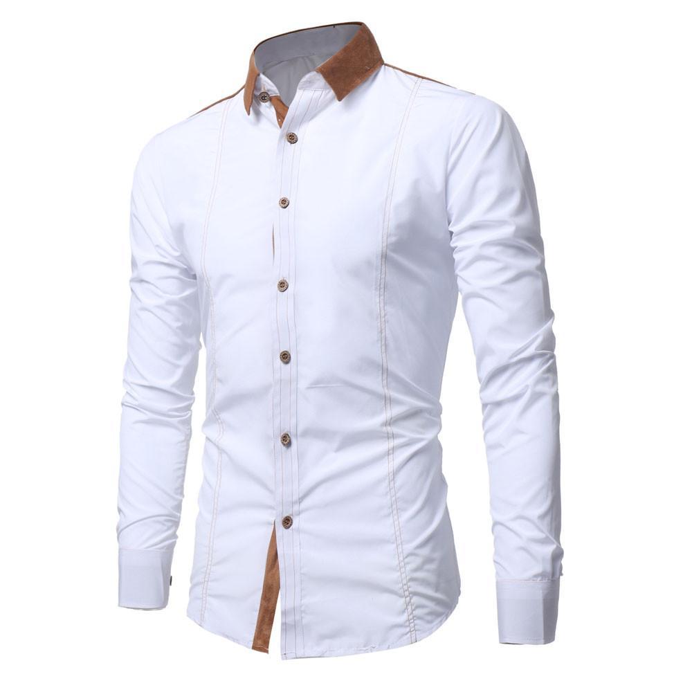 e2da2d4f34c7 Compre LNCDIS Blusa 2019 Moda Masculina Camisa Longo Mangas Tops Magro  Casual Cor Sólida Simples Mens Camisas De Vestido Magro Camisa Dos Homens  Novo De ...