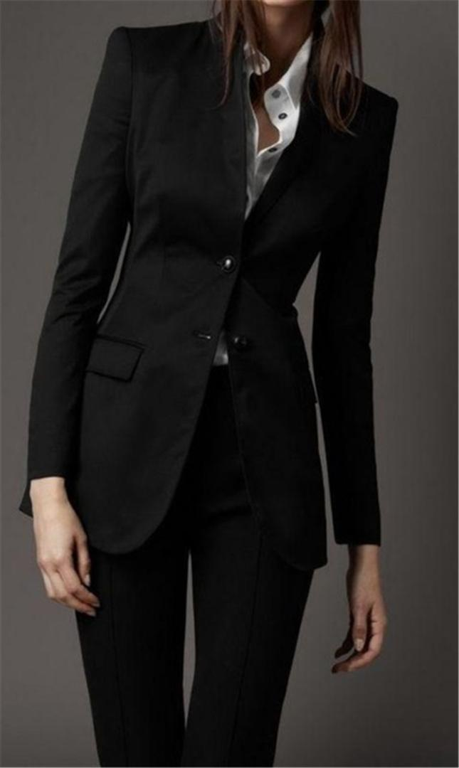 Simple Black Women Ladies Formal Suits Office Business Tuxedos Work Wear Pants Suits Bespoke