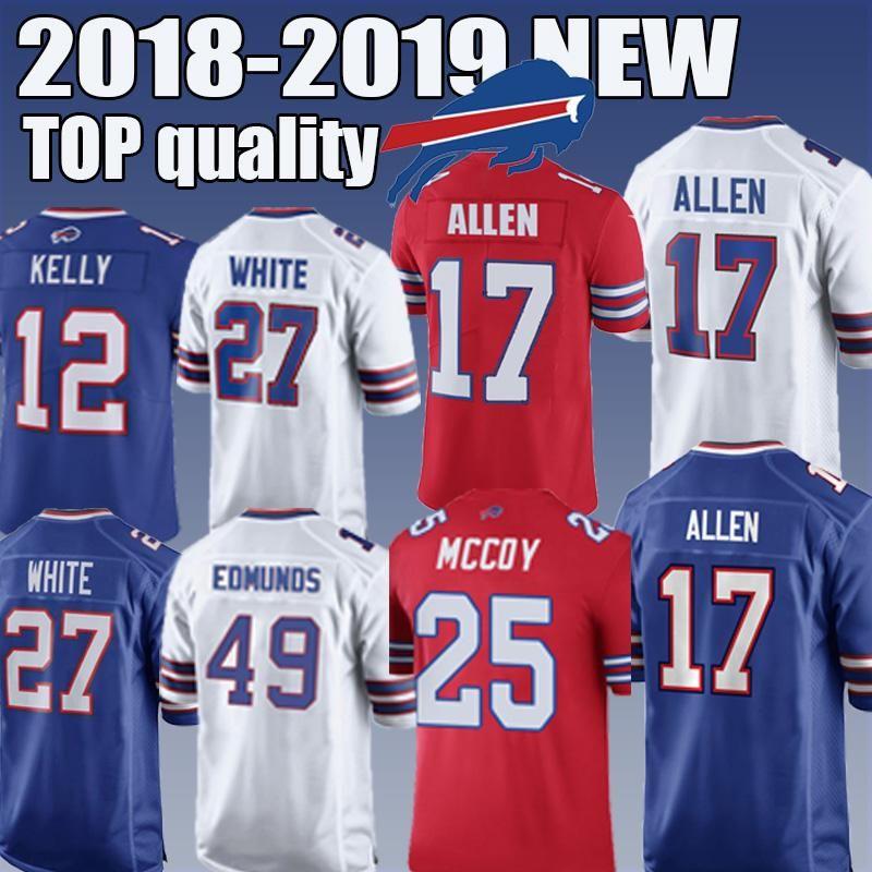 buy online 34fb7 bf884 Bills football jerseys 17 Josh Allen 12 Jim Kelly 27 White Buffalo very  popular top quality 2018-2019 NEW editon free quality