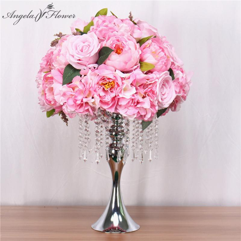 Customize 35cm Silk Peonies Artificial Flower Ball Centerpieces Arrangement Decor For Wedding Backdrop Table Flower Ball 13color J190707