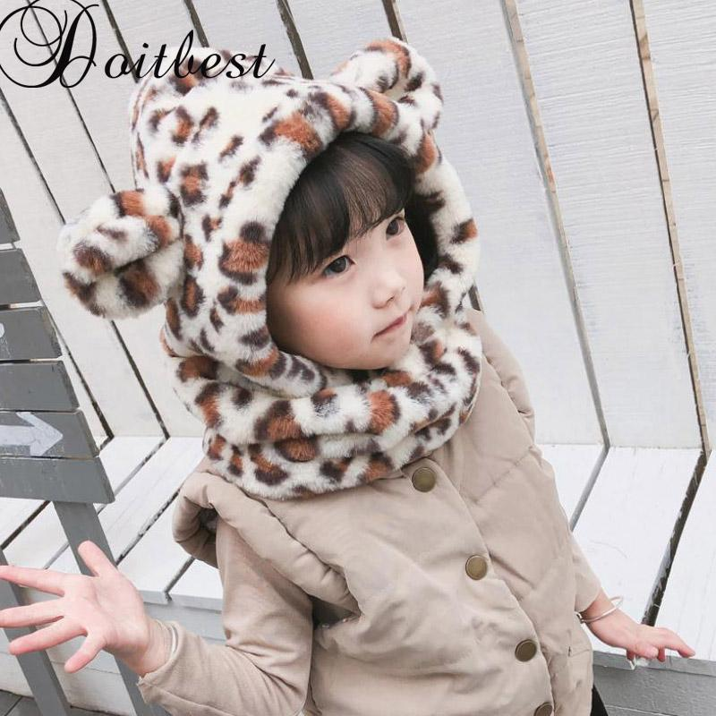 4860540c9d2 Doitbest 2 8 Years Old Winter Hat For Kids Beanies Plush Ear Boys Beanie  Child Fur Hats Leopard Conjoined Kid Girls Earflap Caps UK 2019 From  Sportsun
