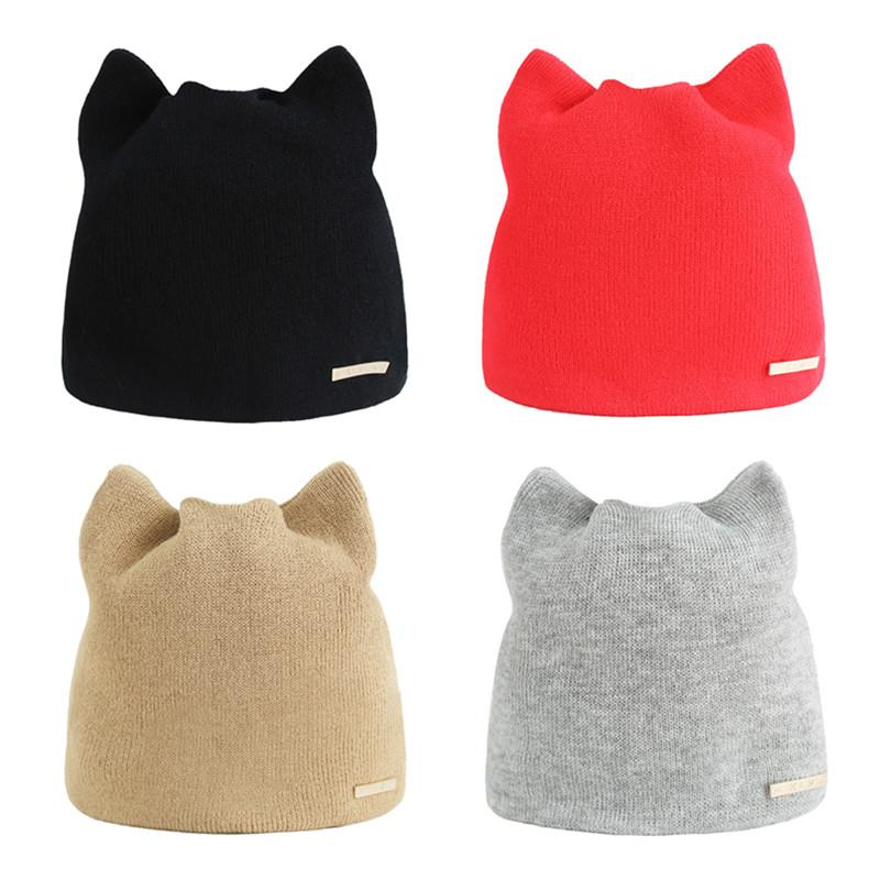 e0eda2bbb20 Fashion Women Winter Warm Hat Cat Ear Beanies Cap Solid Color Knitted Hats  Hip Hop Casual Beanie Warm Winter Hats For Women Men S18120302 Knit Cap  Slouch ...