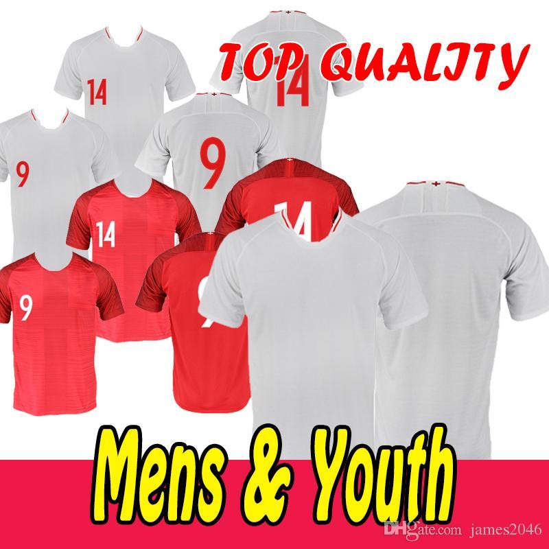 2019 El Más Nuevo Diseño De Fútbol Usar Camisetas De Fútbol Inglaterra No.9  14 Blancas Y Rojas Con Ropa De Entrenador En Blanco Por James2046 19bbc479a3398