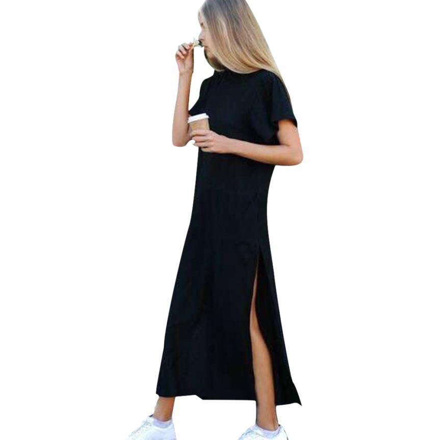 D'été Femmes Sexy Manches Longues Style Décontractél Haute Fente Noire Courtes Robes Robe Côté 6gybvIfY7
