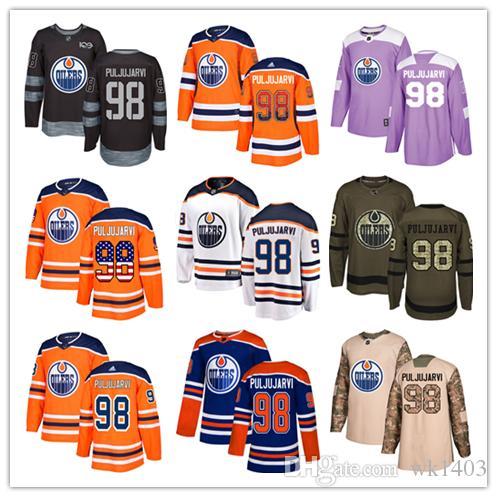 los angeles ab172 071d0 Edmonton Oilers jerseys #98 Jesse Puljujarvi Jersey hockey men women youth  royal blue orange white home Breakaway Stiched authentic Jerseys