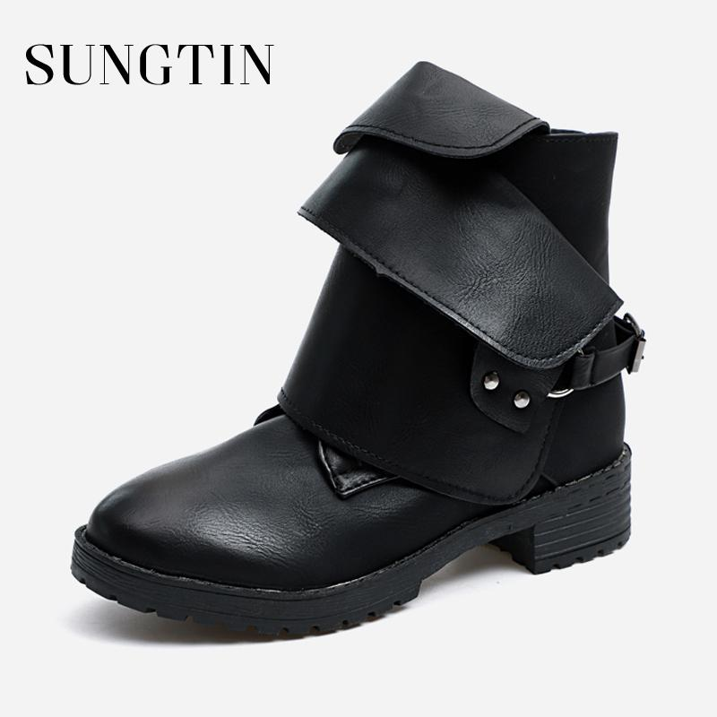 cd57dc96acff Sungtin Street Style Women Punk Motorcycle Boots Fashion Buckle Strap  Chunky Low Heel Ankle Boots Lady Catwalk Pu Leather Shoes Sexy Shoes Boots  Shoes From ...