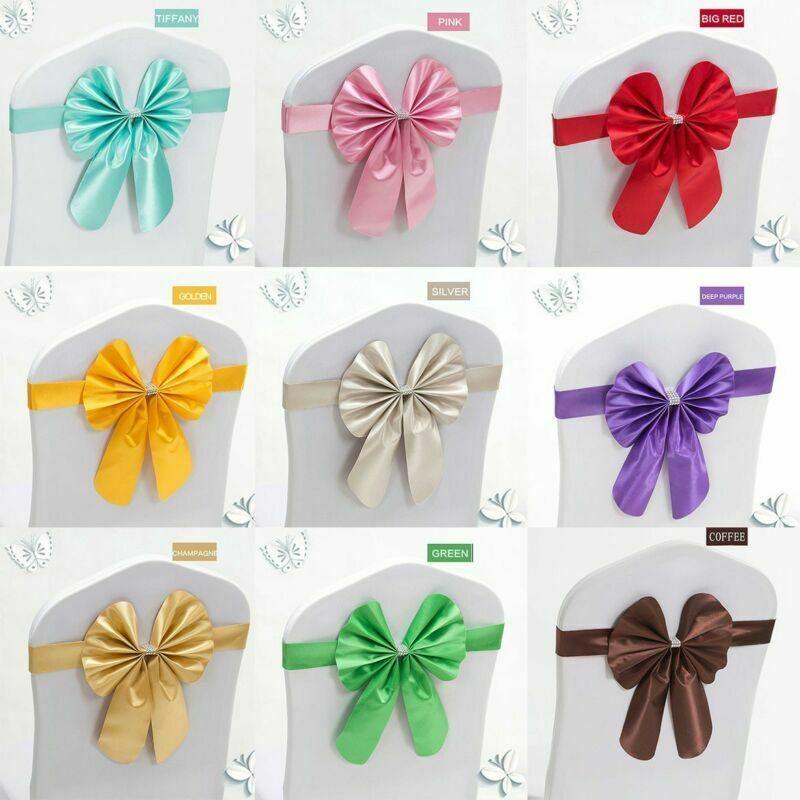 50pcs Spandex Sash Band Ties Chair Back Wedding Banquet Bow-knot Bows Ribbon Wedding Party Home Decoration
