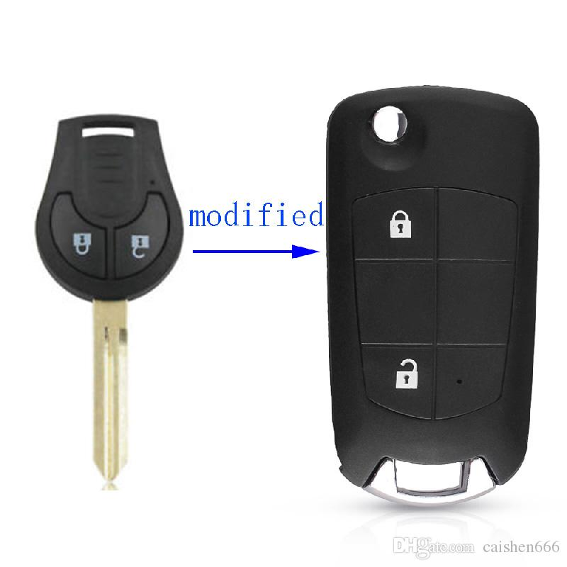 Modified Flip Folding Remote Uncut Blank Key 2 Button Car Key Shell For Nissan Sentra Versa Altima With NSN14 Blade