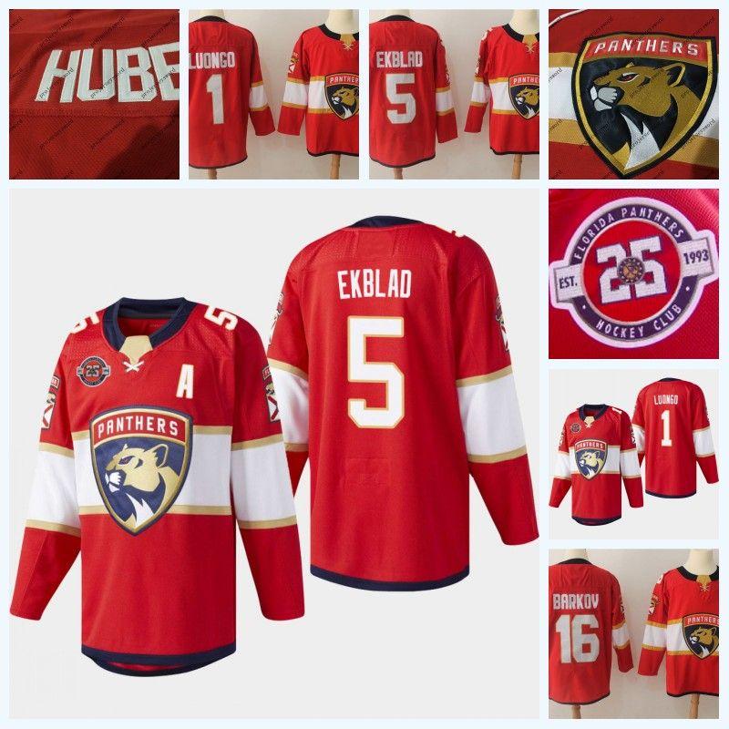 Mens 16 Aleksander Barkov Florida Panthers 25th Anniversary 5 Aaron Ekblad 1 Roberto Luongo Ice Hockey Jersey Double Stitched Name Number