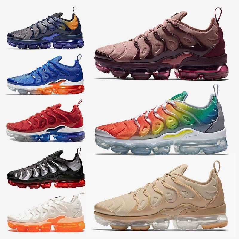 sale retailer a0a8d 94ccc Acheter Nike Air Vapormax TN Plus 2019 Nouvelle Inscription Smokey Rainbow  MauveTN Plus Chaussures De Course Fades Blue Rainbow Jeu Royal USA Hommes  ...