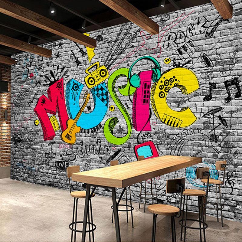 Custom Mural Wall Paper Creative Graffiti Art Music Brick Wall
