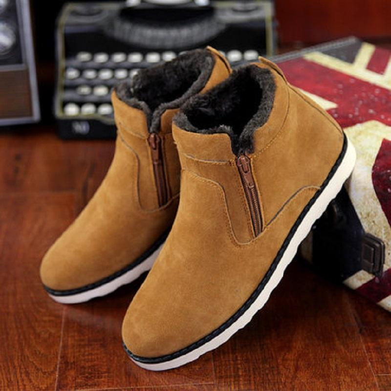 2019 winter new men's snow boots one pedal zipper flat bottom suede waterproof padded cotton boots plus velvet Martin