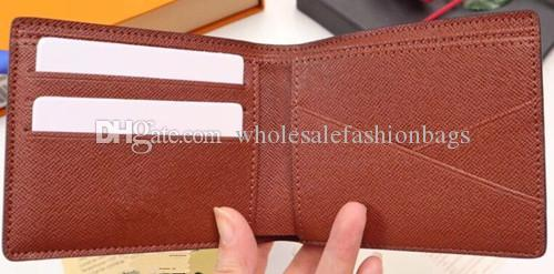 Hotsale Top quality brand new men genuine Leather Short Wallet credit Card holder Suit purse With Box 60895