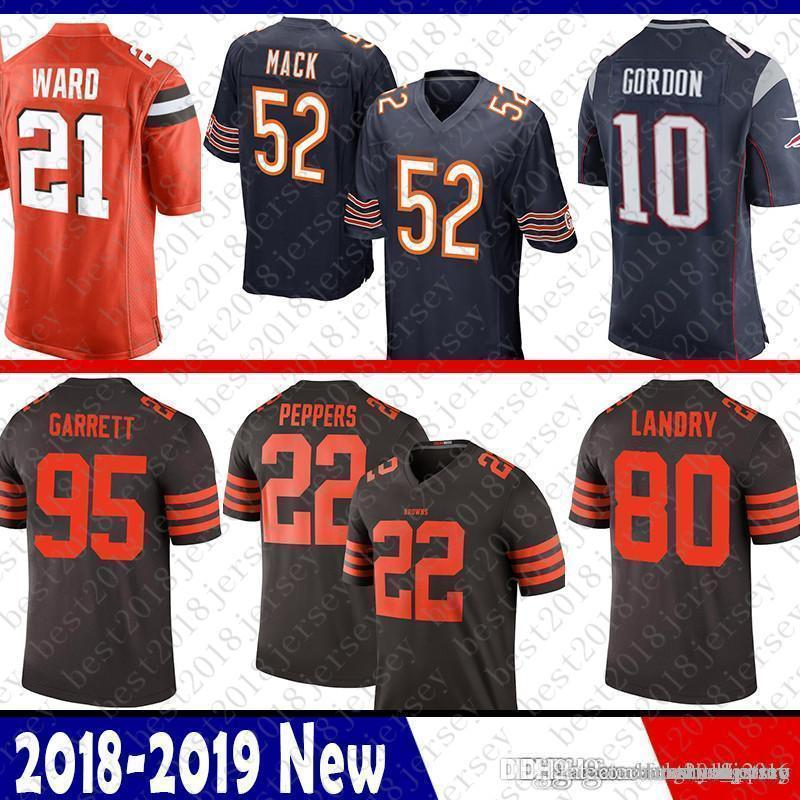 official photos 14c5c 24085 52 Khalil Mack Chicago Bears Jersey Patriots 10 Josh Gordon 21 Denzel Ward  Cleveland Browns 95 Myles Garrett 80 Landry 22 Jabrill Peppers