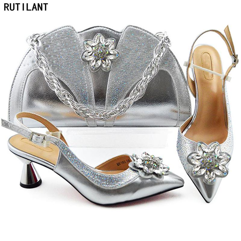 bc9c5ed68b Italian Women Wedding Pumps With Purse High Quality Plus Size Shoes Women  Heel Elegant Crystal Shoes Low Heel Shoes And Bag Set