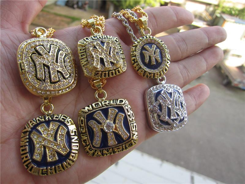 1977 1996 1998 1999 2000 2009 New York World Baseball Team Championship Ring Pendant Necklace Set With Chain Fan Men Gift