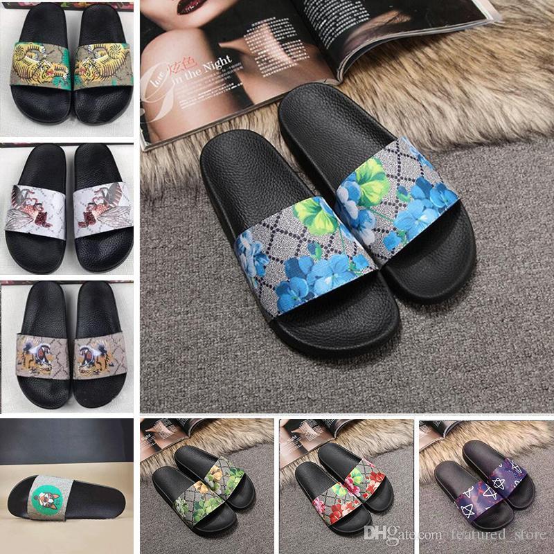 0218d515cdb5 ACE 2019 Brand Men Women Scuffs Sandals Designer Shoes Luxury Slide Summer  Fashion Wide Flat Slippery Sandals Slipper Flip Flop 35 46 Flower Moccasins  For ...