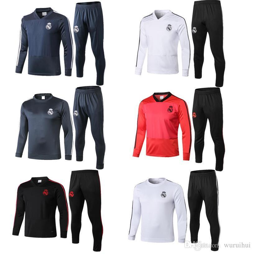 dcda8d219e25a 2019 New 18 19 Top Quality Real Madrid Survetement Real Madrid Tracksuit  Camiseta De Futbol 2019 Ramos Kroos Bale Training Suit Chandal Jacket From  Wuruihui ...