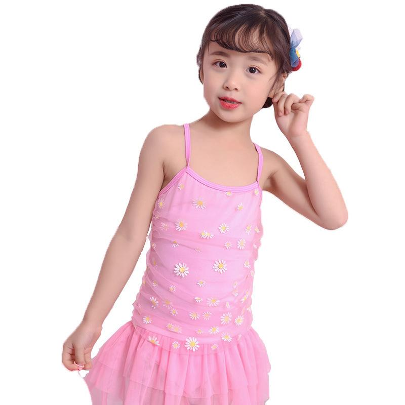 94cefbbf07489 Children's Bathing Suit One-piece Princess Swimming Skirt Lace Beachwear  For Girls Baby Chrysanthemum Swimsuit Hot Spring Swim Wear 6.5