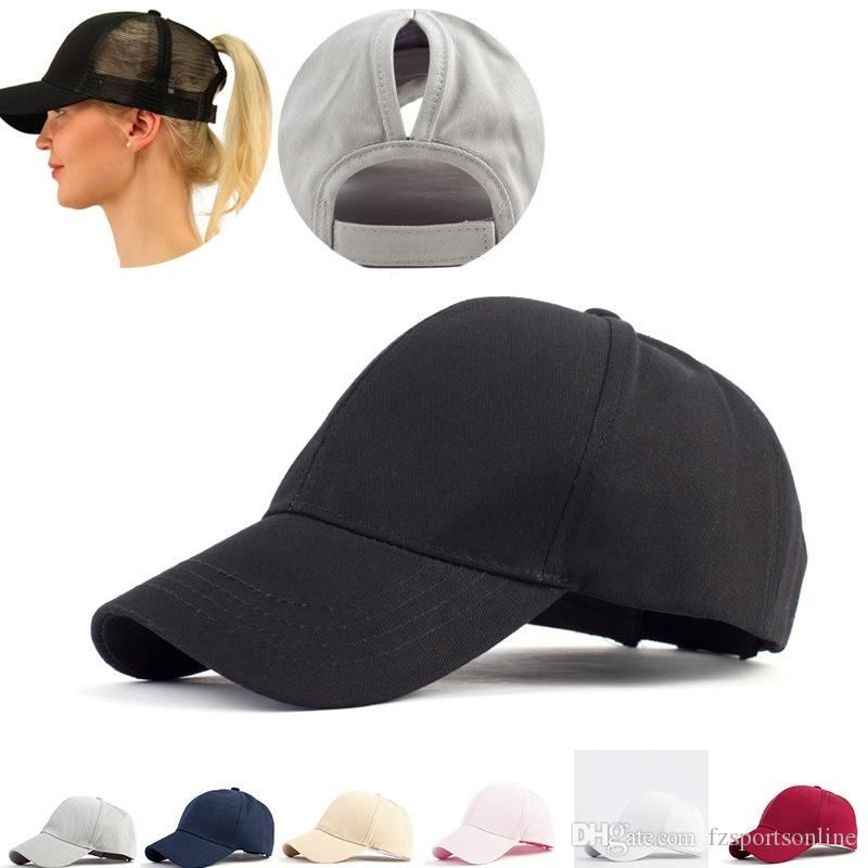 bdf6c360616 2019 Women S Ponytail Baseball Cap Solid Color Breathable Sunshade Sun Hat  After Opening Sports Tennis Cap  220175 From Fzsportsonline
