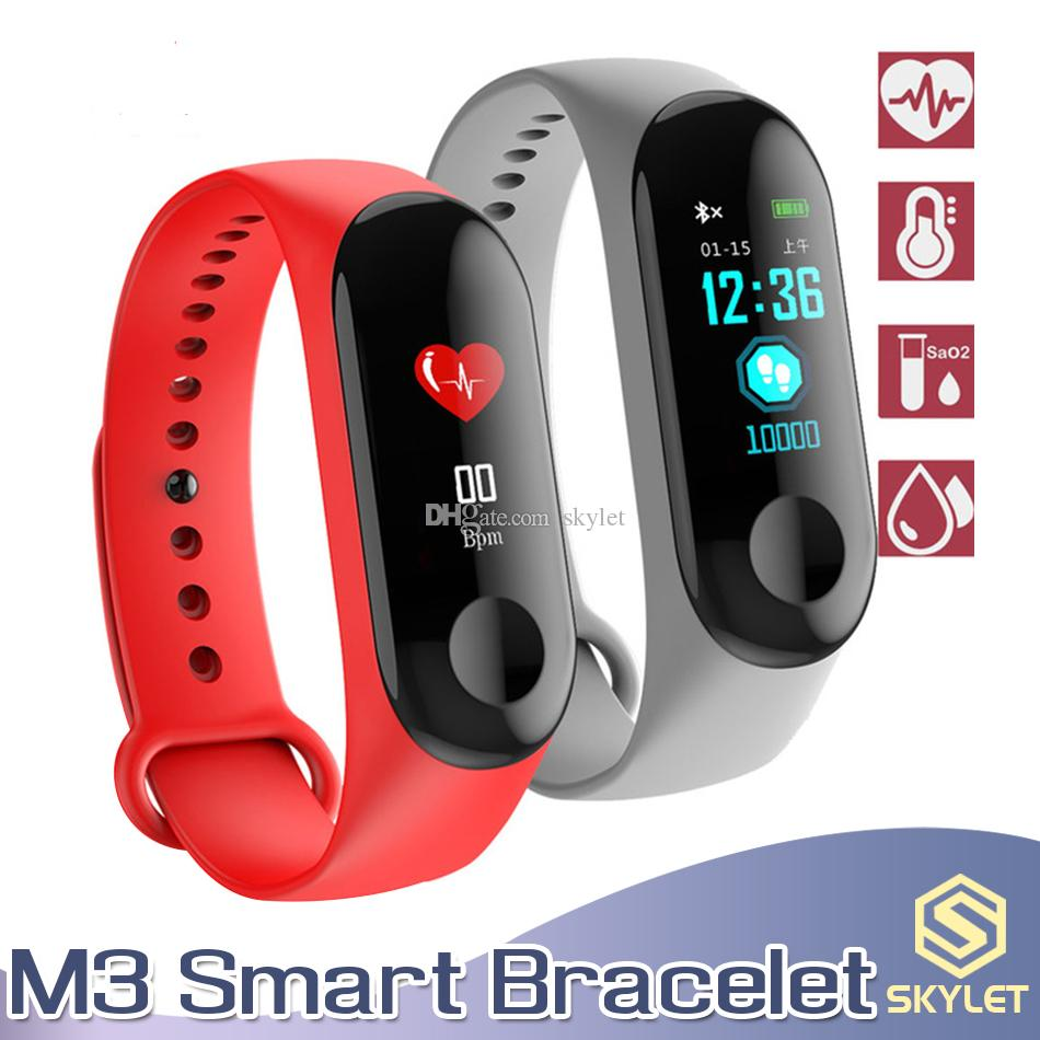 M3 Smart Bracelet Fitness Tracker with Heart Rate Watches for Smart Cellphones ID115 PLUS 116 PLUS Y7 Q1 Watch Band with Retail Box