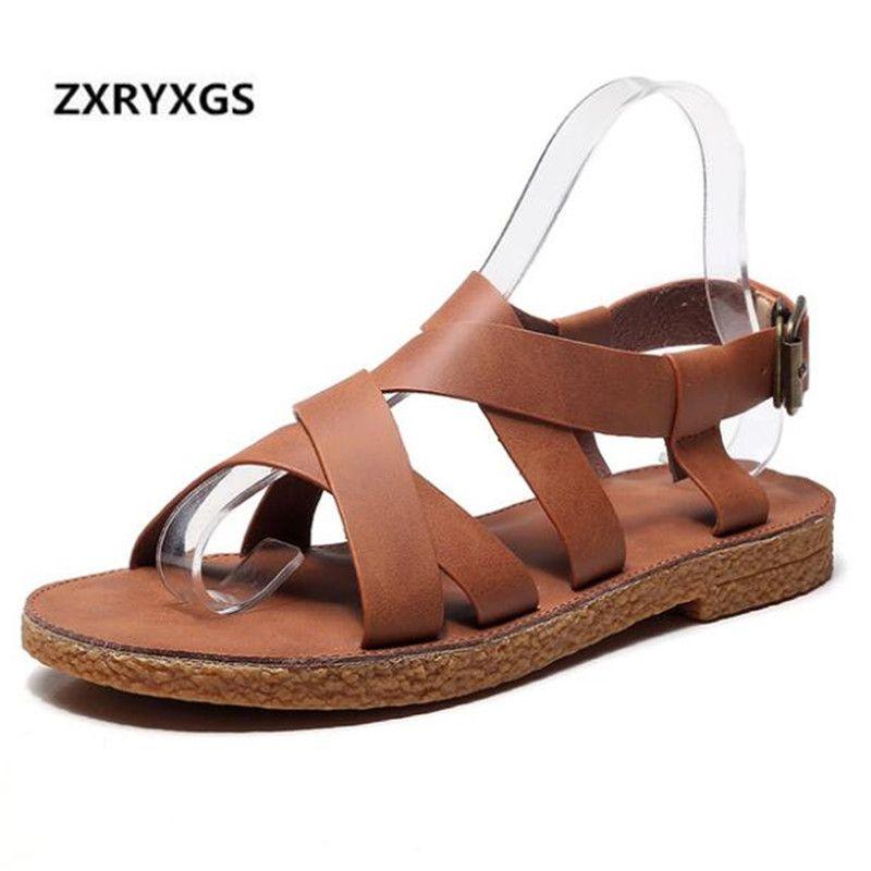 c933821189b75 New Retro Handmade Cow Leather Shoes Sandals Women 2019 Summer Fashion  Shoes Woman Comfort Soft Bottom Flat Women Sandals