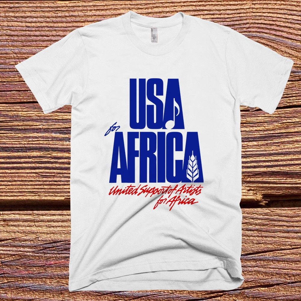 e956ab01 We Are the World Anniversary USA for Africa White T-shirt Fashion T Shirt  Men's Short O-neck Fashion Printed