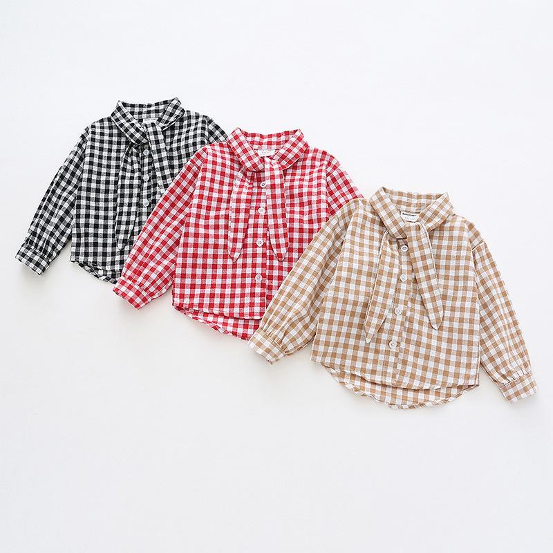 Compre 2019 Moda De Otoño Nueva Ropa De Bebés Bebés Lindo Blusa De Manga  Larga Camisas De Tela Escocesa Para Niñas Infantiles Camisa De Pajarita  Blusas A ... e1cf5eb0e57d