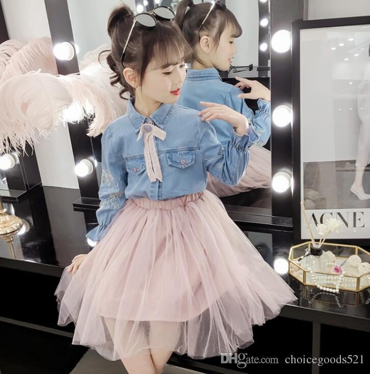 8d301fc2f Vestido de niña niñas mangas largas Denim 2pcs set jacket + tutu falda  princesa linda ropa 6 p / l