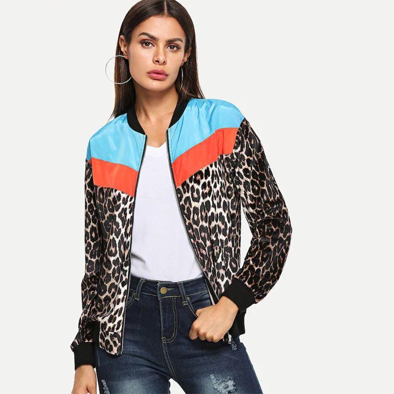712c5b2f4fc8 New Fashion Women Bomber Jacket Leopard Print Color Block Long Sleeve  Outerwear Thin Coats Women High Streetwear Bomber Jackets Straight Jackets  Jacket ...