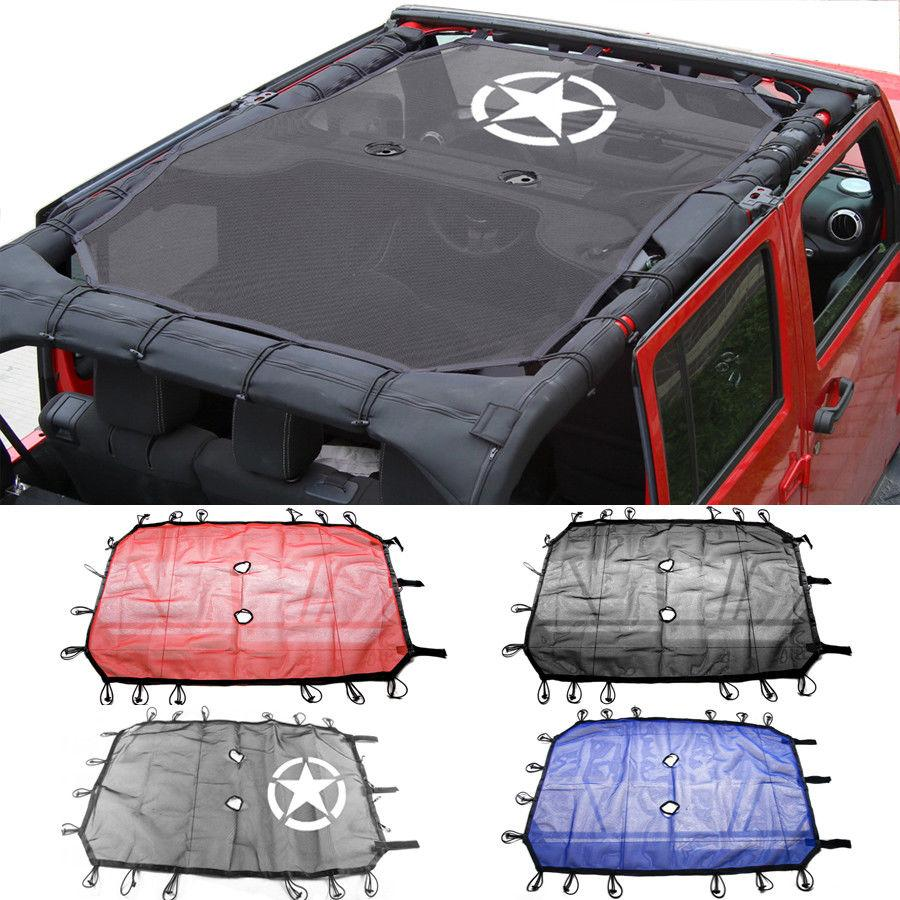 2 4 Doors Polyester Roof Mesh Bikini Top Cover Uv Sun Shade Mesh For Jeep Wrangler 2007 2017 Accessories Car Styling