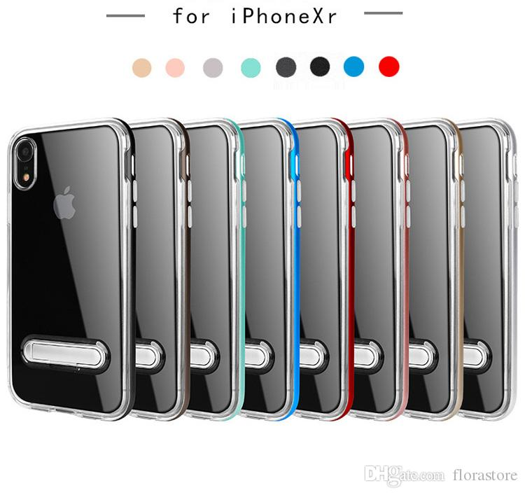 2019 Newest Golden Frame Armor Kickstand Cover Clear PC+TPU Phone Case with  Holder For Apple iPhone 7 7PLUS 8 X XR MAX