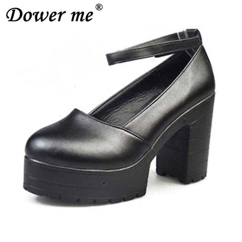 3dd0867fb Compre Zapatos De Vestir 2019 Factory Outlet Big Spring Calzado De Mujer  Tacones Gruesos Ocasionales Plataforma Para Niñas Europa Mujeres Tacones  Altos ...